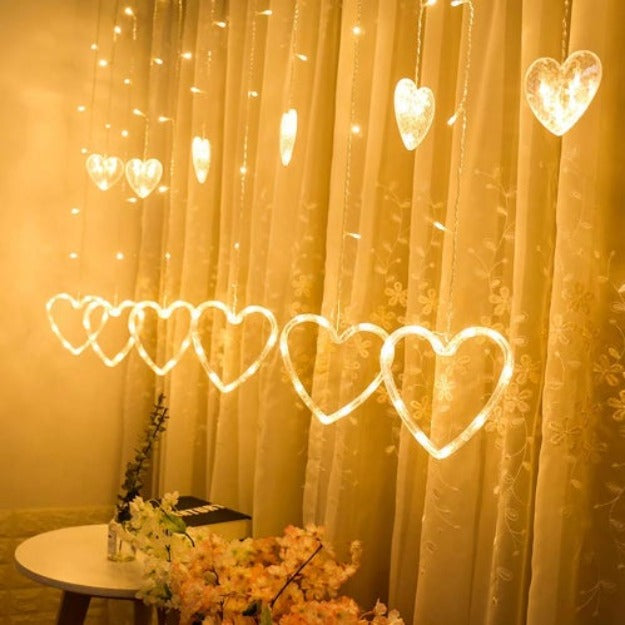 Heart Curtain Lights | Warm White LED - Chronos