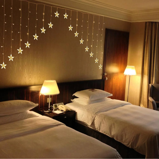 Star Gateway Curtain Lights | 16 Stars | Warm White LED - Chronos