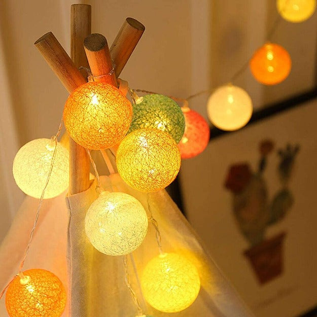 Cotton Ball String Lights - Pastel Colors