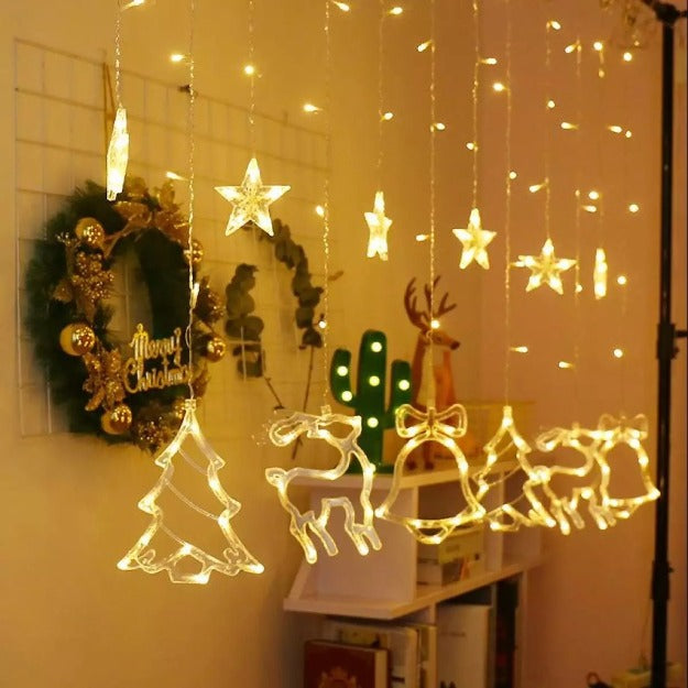 Christmas Curtain Lights | 12 Christmas Ornaments | Warm White LED
