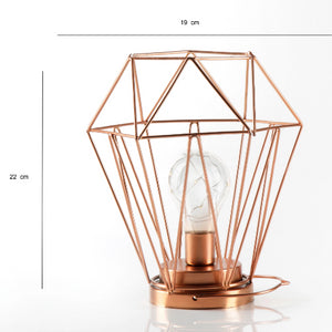 Geometric Metal Cage Lamp - Rose Gold - Chronos