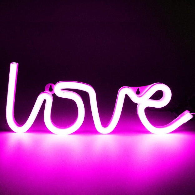 Neon Sign Lamp Wall Hanging | Battery & USB Operated | Love
