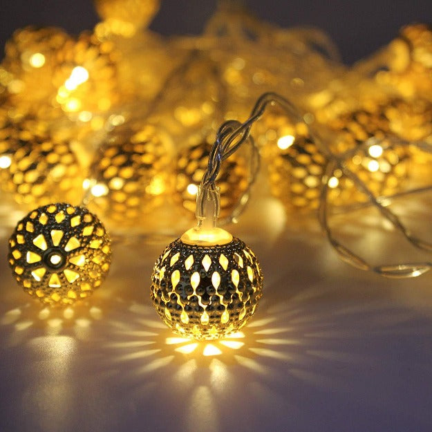 Metal Balls Decorative String Lights - Warm White | Chronos