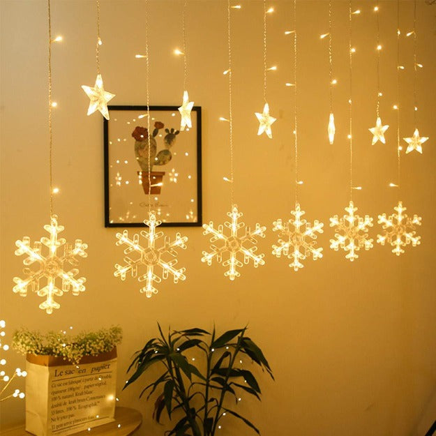 Snowflake Curtain Lights | Warm White LED Chronos
