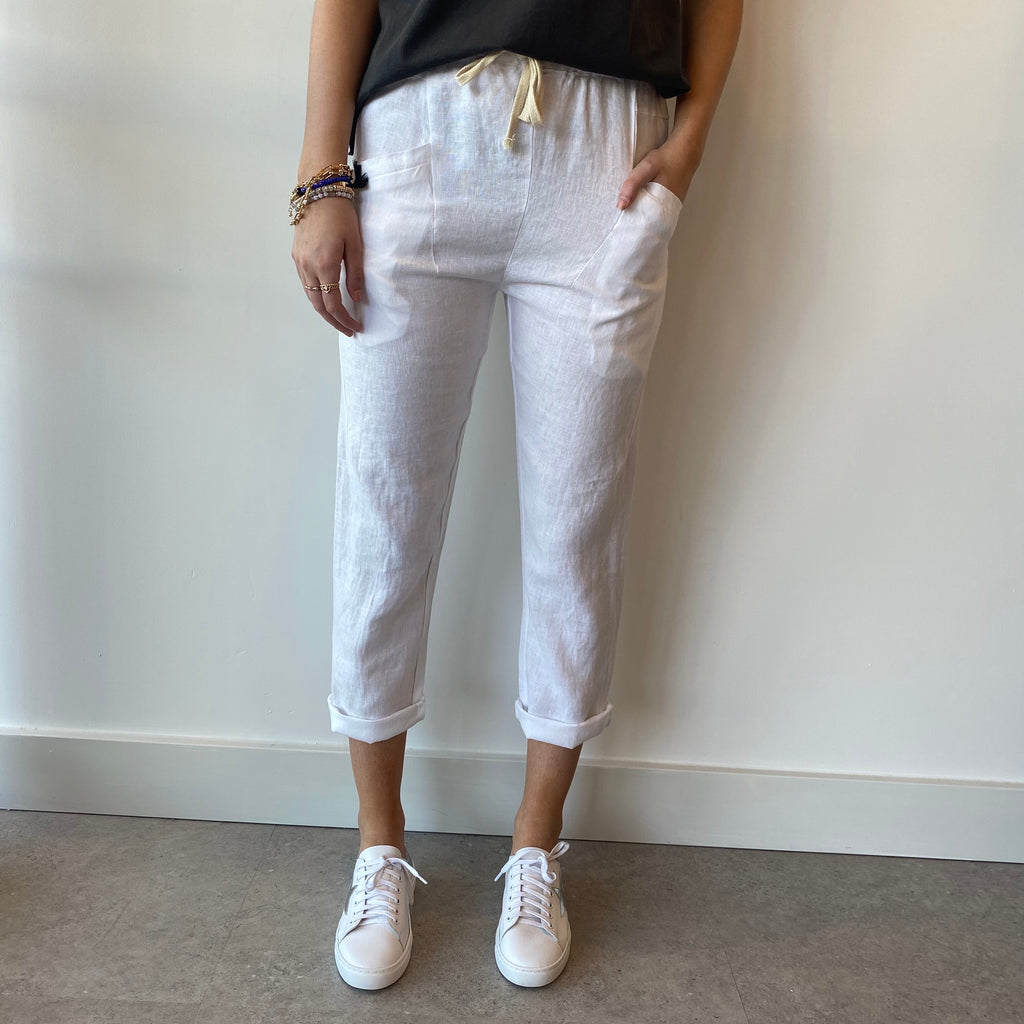 Luxe White Linen Pants