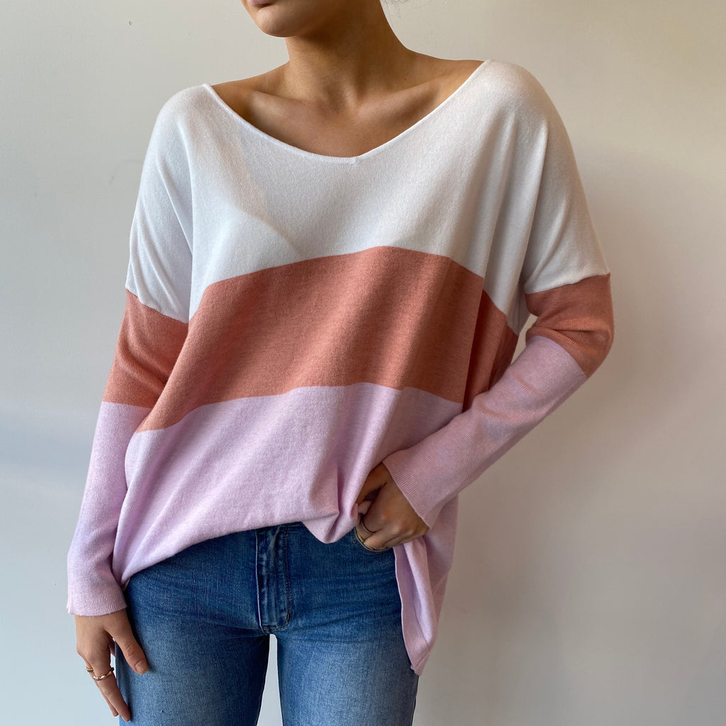 Lovely Lily Pink 3 Stripe Knit