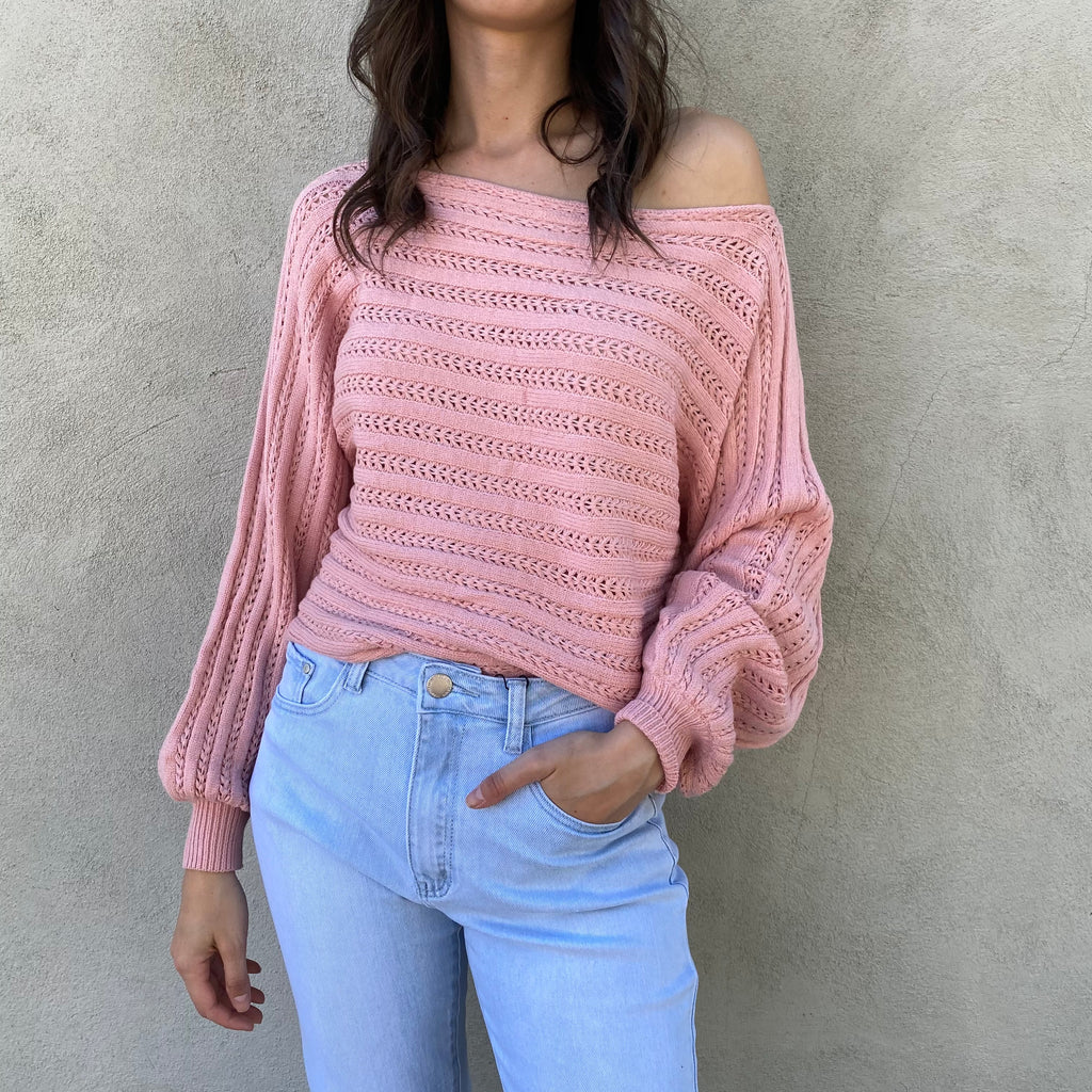 Erica Baby Pink Crop Knit Sweater