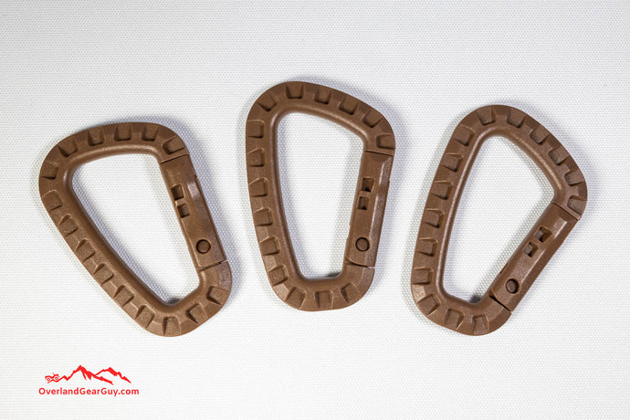 3 pcs polymer light weight carabiner in coyote / tan