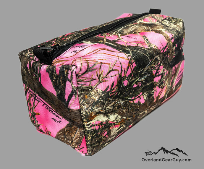 Pink Camo Toiletry Travel Bag by Overland Gear Guy, Travel Bathroom Bag