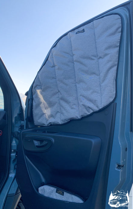 Havelock Wool insulated front window covers for Sprinter van by Overland Gear Guy