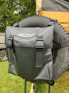 Saint Helens Trail Bag by Overland Gear Guy is great for stowing trash, recycle, dirty boots, recovery gear. Spare Tire Storage Bag, Off Road Tire Trash Bag, Camping Trash Bag, Overland Gear, overland gear. Camping Trash Bag, Spare Tire Recycle Bag, Camp accessories