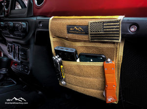 Tan Jeep Passenger Grab Handle Accessories Flat Pocket with Velcro by Overland Gear Guy