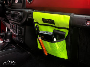Fluorescent Lime Yellow Jeep Passenger Grab Handle Accessories Flat Pocket with Velcro by Overland Gear Guy