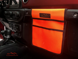 Neon Orange Jeep Passenger Grab Handle Accessories Flat Pocket with Velcro by Overland Gear Guy