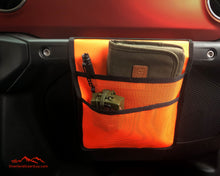 Load image into Gallery viewer, Neon Orange Jeep Passenger Grab Handle Accessories Flat Pocket with Velcro by Overland Gear Guy