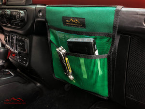 Green Jeep Passenger Grab Handle Accessories Flat Pocket with Velcro by Overland Gear Guy