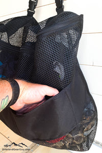 Mesh laundry bag for campervan, van life accessories by Overland Gear Guy
