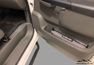 Custom Door Cubby Pouches for Nissan NV, Nissan NV van accessories by Overland Gear Guy, cable storage
