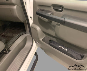 Custom Door Cubby Pouches for Nissan NV, Nissan NV van accessories by Overland Gear Guy, strap storage vehicle