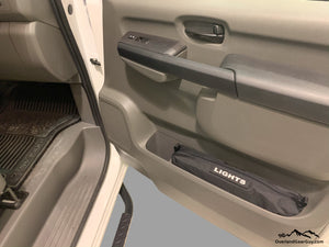 Custom Door Cubby Pouches for Nissan NV, Nissan NV van accessories by Overland Gear Guy, light bag for van
