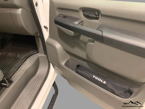 Custom Door Cubby Pouches for Nissan NV, Nissan NV van accessories by Overland Gear Guy, tool bag storage