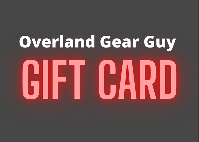 Overland Gear Guy gift card. Made in America custom gear. Simple storage and organization gear for overland, camper van, Jeeps, and more.