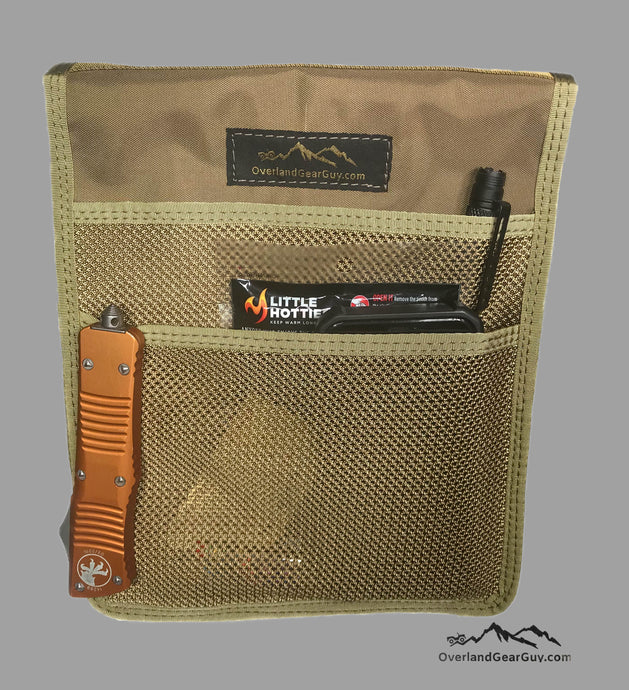 Roof Top Tent Tan Storage Bag by Overland Gear Guy, Coyote Mesh Storage Pocket