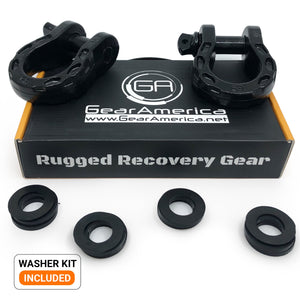Mega Shackles - Black (2PK) | 68,000 lbs (34 Ton) Max Strength