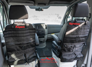 Custom Black Sprinter Van Seat Organizer by Overland Gear Guy