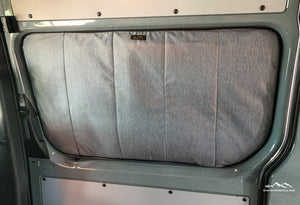 Deluxe Magnetic Insulated Sliding Door Window Cover for Sprinter Van - Custom Sprinter Van window covers by Overland Gear Guy