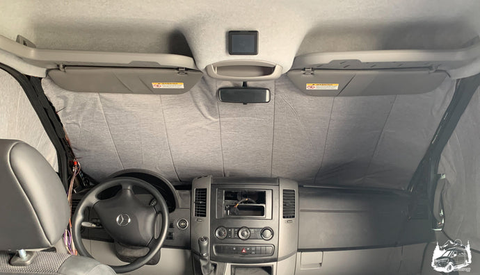 Deluxe insulated inside windshield window cover for Sprinter Van - Custom Sprinter van shades - Vanlife accessories by Overland Gear Guy