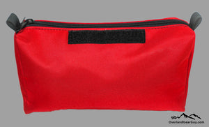 Red Modular Storage Pouch with velcro ID tag by Overland Gear Guy