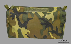 Woodland Camo Storage Pouch with velcro ID Tag by Overland Gear Guy