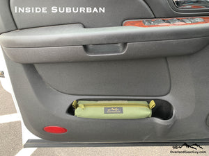 Universal Storage Cubby Pouch by Overland Gear Guy, custom storage pouch, vehicle storage, door cubby pouch, Suburban
