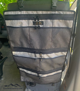 Light Gray Seat Organizer with Sprinter, Transit, Promaster, Econoline, Van Life Organization by Overland Gear Guy