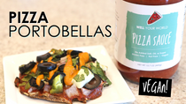 Portobella Pizzas with our BRAND NEW PIZZA SAUCE