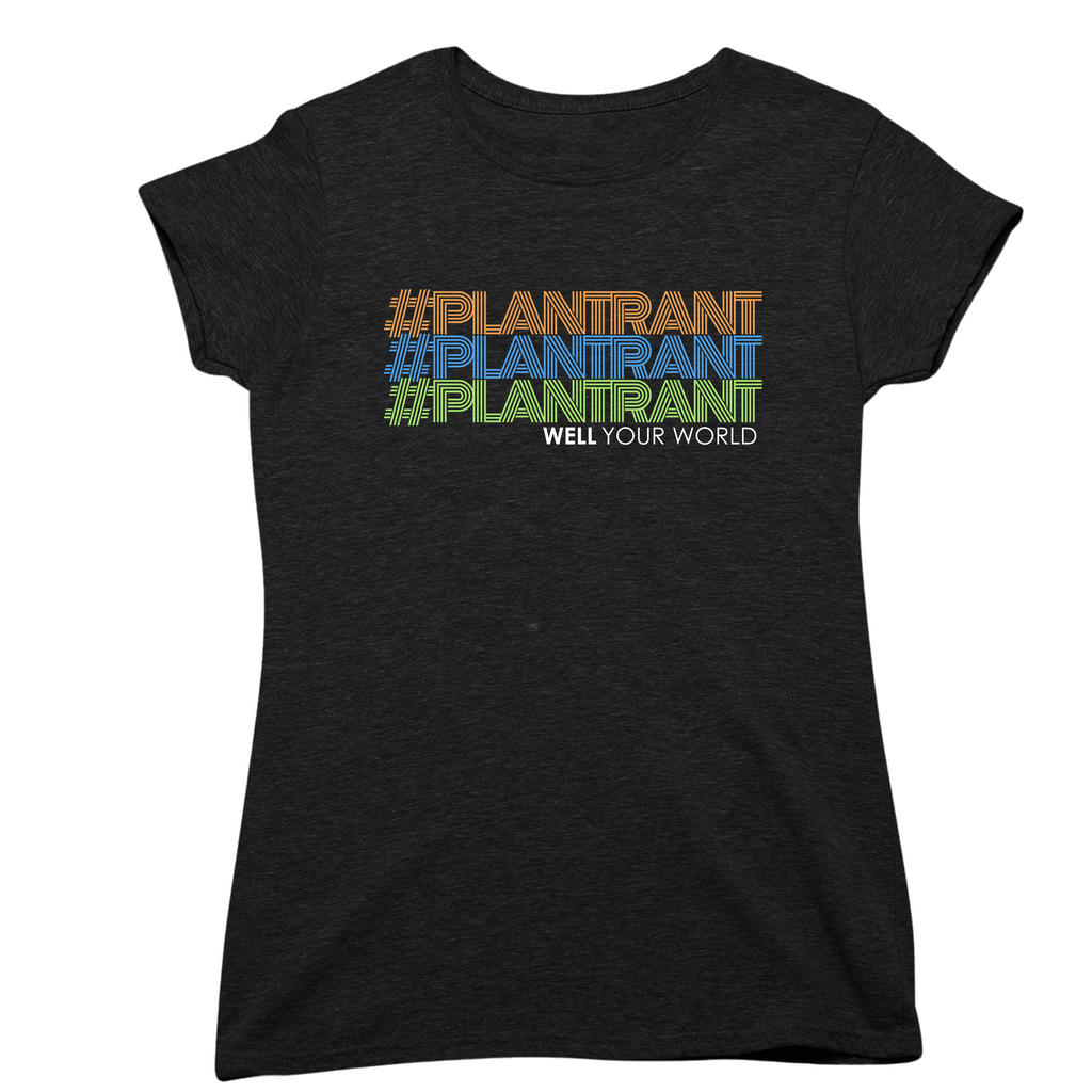 Black t shirt with #plantrant plant rant written on top