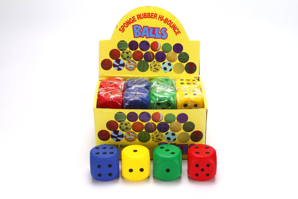 2.5'' SOFT DICE assorted colors 24pcs/display