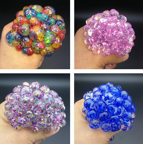 Mesh Ball 7cm With Pearl assorted colors  12pcs/display