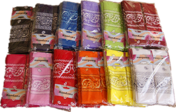 BANDANA 12PCS/PK/COLOR white/L-purple/D-purple/orange/red/burgundy/L-pink/D-pink/green/black/navy/blue/L-blue/yellow