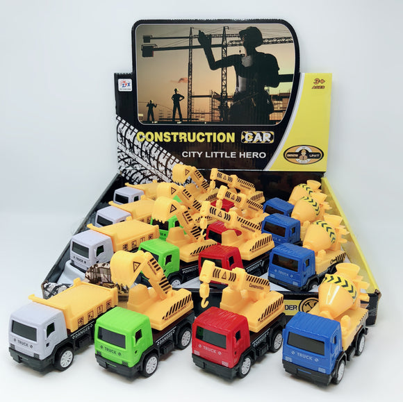 PULL BACK CONSTRUCTION VEHICLE 12 PCS/DISPLAY 3 DESIGNS ASSORTED
