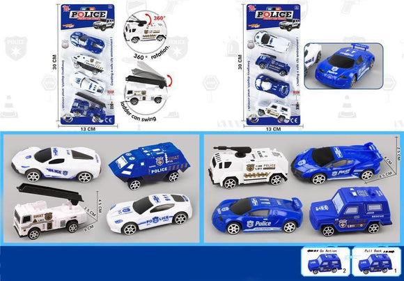 Police Car Set of 4 Pullback assorted styles 12 pcs/pk