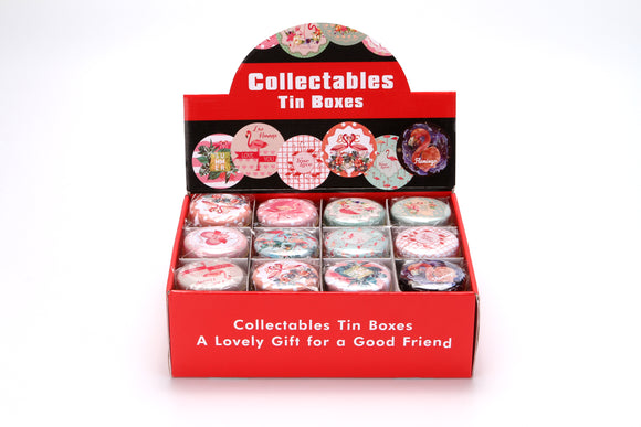 2.7'' ROUND TIN BOX-FLAMINGO assorted designs 36pcs/display