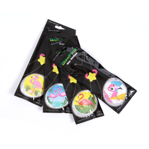 GLOW WRISTBAND-FLAMINGO assorted designs 12pcs/pk