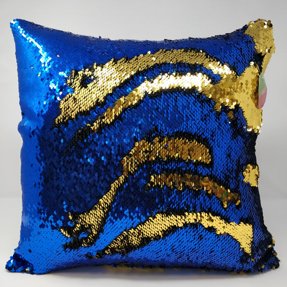 16''*16'' REVERSIBLE SEQUIN COUSHION-BLUE/GOLD 2pcs/pk