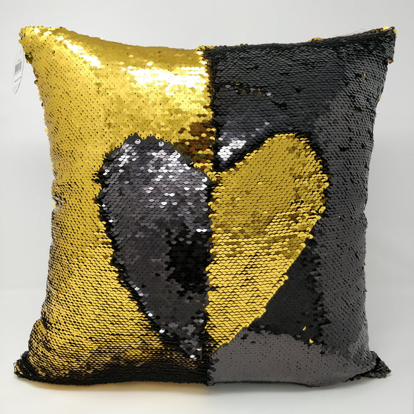 16''*16'' REVERSIBLE SEQUIN COUSHION-BLACK/GOLD 2pcs/pk