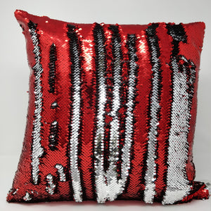 16''*16'' REVERSIBLE SEQUIN COUSHION-RED/SILVER 2pcs/pk