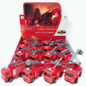 PULL BACK FIRE TRUCK 12 PCS/DISPLAY 4 DESIGNS ASSORTED
