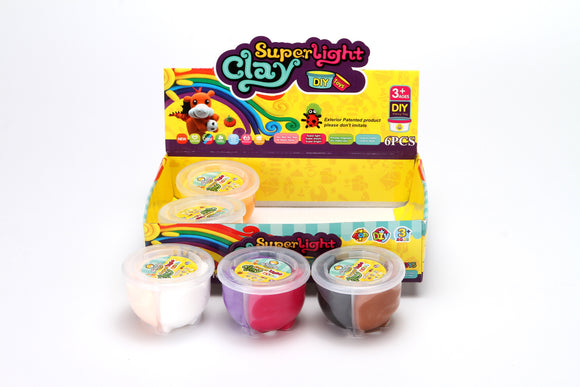 Super Light Clay Dual Color assorted color 6pcs/display