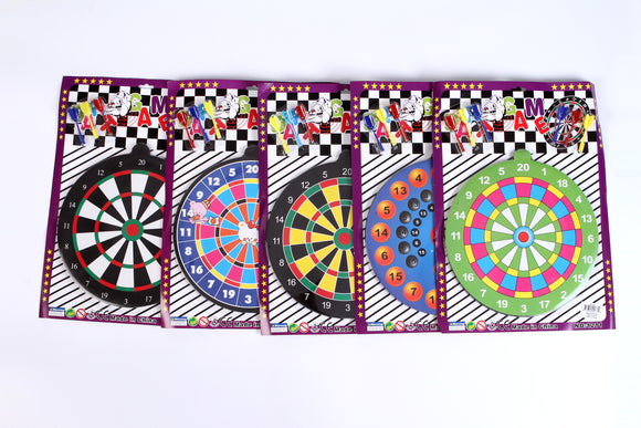 MAGNETIC DART BOARD SET 5 designs assorted 5pcs/pk